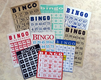 10 Bingo Cards - Vintage Paper Assortment