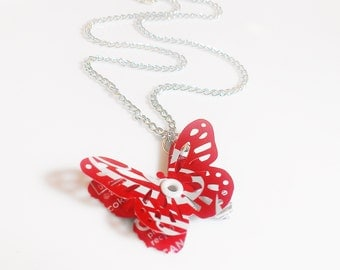 Coca Cola Recycled Soda Can Necklace Women Jewelry Women Gift Upcycled Handmade Butterfly Eco Friendly 3D SALE R18 - N72