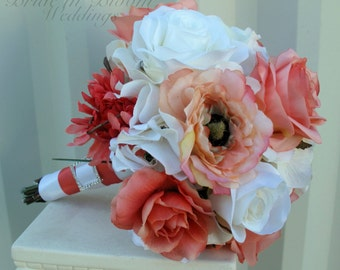 Coral rose wedding bouquet, Silk bridal bouquet, Wedding flowers