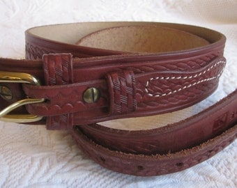 TRIPLE K BRAND Western Style Brown Basketweave Tooled Leather Belt Size 40