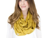 VINTAGE MUSTARD INFINITY scarf, vintage hole sweater knit, soft loop scarf, chunky knit infinity scarf, destroyed scarf, edgy scarf