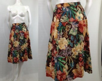 Vintage 1970s tiered Hawaiian print skirt Cotton Floral Small Brown Blue Cottage Chic