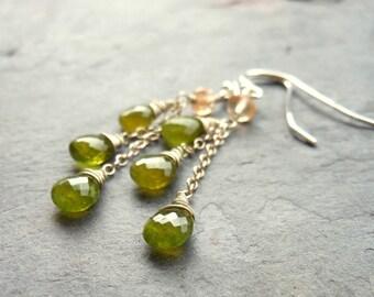 Vesuvianite Earrings Dangle Earrings Cascade Gemstone Earrings, Sterling Silver, Olive Green Rustic
