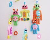 Baby Mobile - colorful robots baby mobile - robots baby crib mobile - cute robot nursery mobile - baby robot mobile - robot baby girl mobile