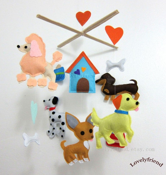 """Baby Mobile - Poodle Crib Mobile - """"Little Pet House""""  - Handmade Weenie Nursery Mobile (Match your bedding)"""