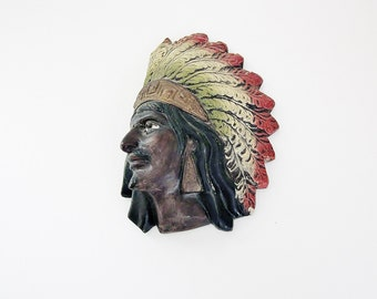 Indian Chieftain Plaster Cast Wall Hanging - Vintage Tribal Warrior Wall Decor - Southwest Home Decor - Novelty Collectible - Kitsch Decor