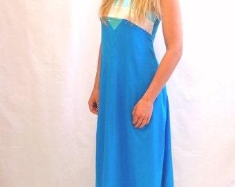 Vintage 1970's electric blue maxi evening dress OOAK
