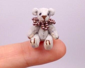 Micro Miniature Artist Bear, blue 2.5cm / 1inch  by VonneBears