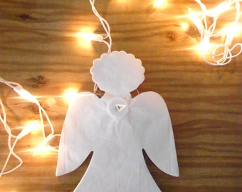 30% SALE / 12 feet vintage white christmas paper angel garland // streamer // party supplies