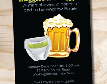 HUGGIES & CHUGGIES bbq, beer and babies Diaper Party Invitation - Printable Digital file or Printed Invitations