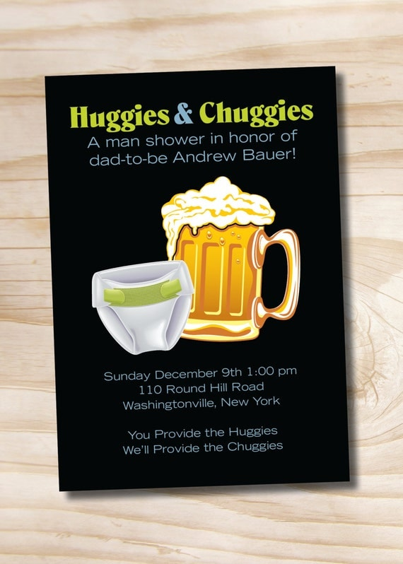 HUGGIES & CHUGGIES bbq, beer and babies Diaper Party Invitation Printable diy Customizable