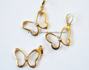 One 18kt Gold Vermeil Butterfly with Cubic Zirconia Crystal Charm with Bail 25 x 13mm