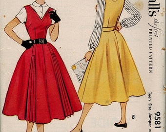 9581 UNCUT 1950's Jumper Dress and Blouse Vintage Sewing Pattern McCall's 9581 Bust 28