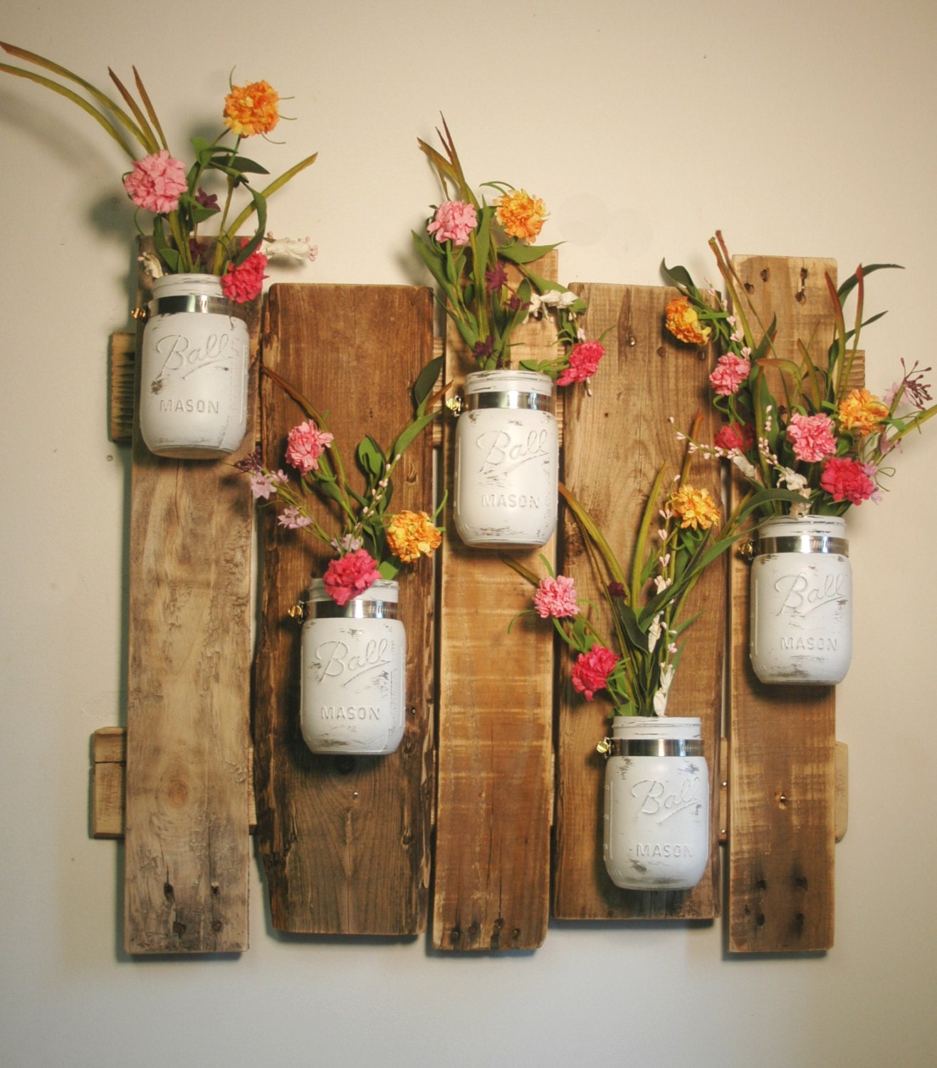 Mason Jar Wall Decor How To : Farmhouse wall decor rustic pallet shabby