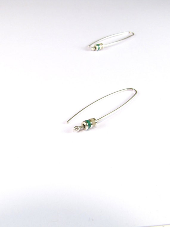 Sterling Silver Earrings, Green and White, Small Cylinder, Modern, Contemporary