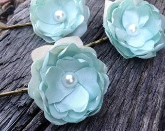Handmade Fabric Flower Bobby Pins - Mint