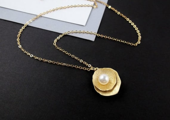 Gold Peony Flower Necklace - Freshwater Pearl Necklace, Pendant with Pearl, Delicate Everyday Jewelry, Holiday Gift
