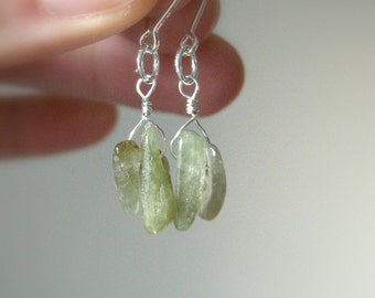 SALE Short Pale Green Tourmaline Shard Dangle Earrings - Sterling Silver / Spring Rustic Earthy Bohemian Simple Everyday Jewelry for Her