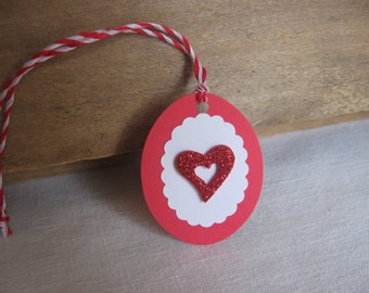 Heart Gift Tags, Set of EIGHT, Red and White Tags, Wedding, Bridal Party, Valentines Day SnowNoseCrafts