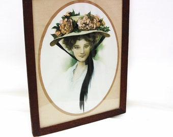 Vintage Victorian Lady, Framed Wall Art, Gibson Girl, Wood Frame, Girl Print, Flower Hat