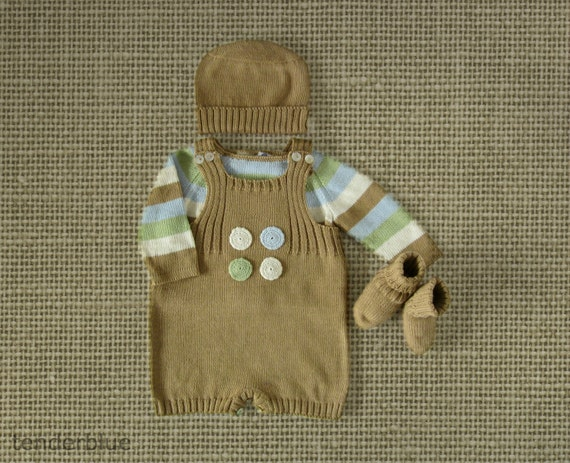 Knitted short jumpsuit with a striped sweater  in nature colors. 100% cotton. READY TO SHIP in size Newborn.