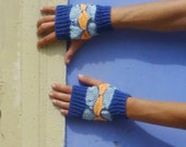 Fingerless Mittens Knit Pattern PDF - Geometric woman accessory - Instant DOWNLOAD