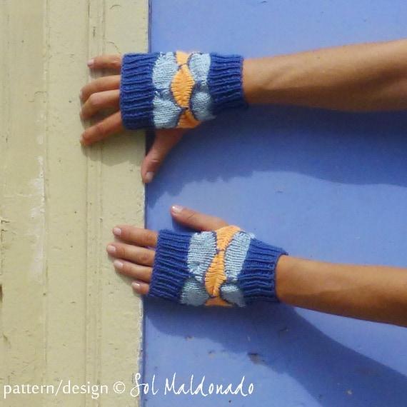 Fingerless Mittens Knit Pattern PDF - Geometric woman accessory - Instant DOWNLOAD