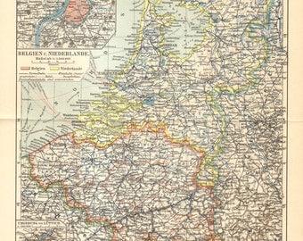 1908 Original Antique Map of Belgium and the Netherlands