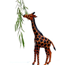 Vintage Giraffe Mid century Leather Animal African Art Tall Giraffe Statue