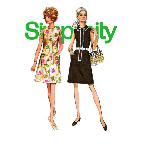 1970s Shift Dress Pattern Uncut Simplicity 8809 Bust 34 42 - photo#44