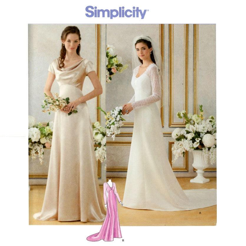 Wedding Gown Dress Patterns: Wedding Dress Pattern Bust 36 44 Uncut Simplicity 1909 Bride