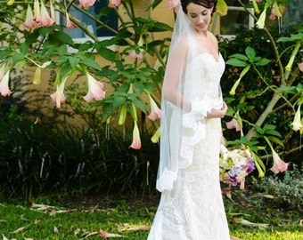 Wedding Veil - Waltz Length Alencon Lace Veil -  Mantilla Veil - Valencia