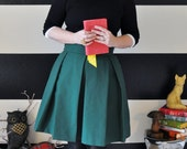 Hunter Green Hartley Skirt Dark green skirt with full, pleated skirt very classic retro and vintage 50's and 60's custom made to order