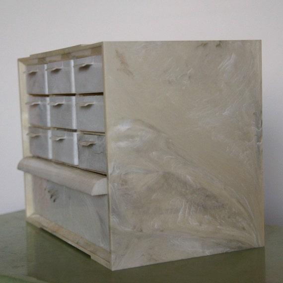 Desk Storage Organization, Jewelry Organizer, Plastic Craft Cabinet, Vintage 10 Drawer Akro-Mils