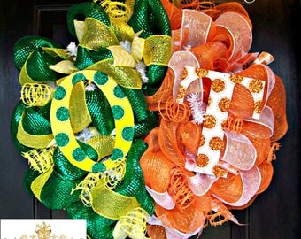 Deco Mesh House Divided Oregon and Tennessee Wreath
