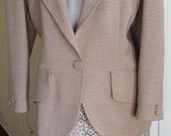 Vintage Large Designer Blazer / Peach Beige Gray Pinstripe Jacket / Umberto Ginocchietti