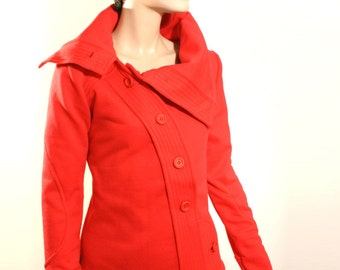 ON SALE -25% RED jacket, spring or fall jacket, buttoned, tailored, medium weight jacket, MoD,sports jacket with buttons, hoodie with collar
