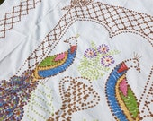 Double Peacock Candlewick Chenille Bedspread Hand Tufted Popcorn Twin or Full Double Size Bed Coverlet