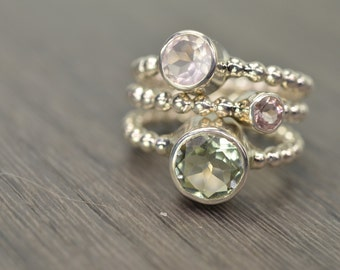 Prasiolite Rose Quartz Pink Topaz Stack Rings, silver gold trio stacking stackable jewelry - Carmine Rings