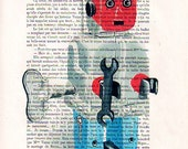 Mixed Media Posters Illustration Giclee Prints Portrait Drawing Art Acrylic Painting Holiday Decor Gifts: Robot - 5