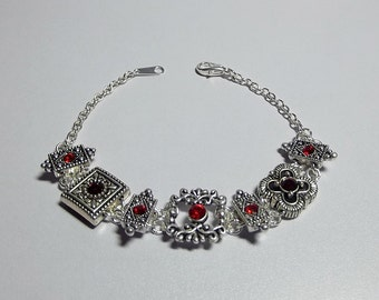 Swarovski Red Slider Bracelet, Mom Sister Grandmother Bridesmaid Friendship Jewelry Gift, Simple, Pretty, Antiqued Silver