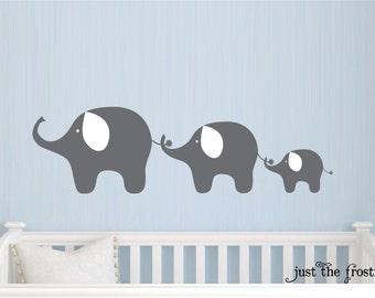Family Elephant Decal, Nursery Elephant Wall Decal, Baby Boy or Girl Family Vinyl Wall Decal