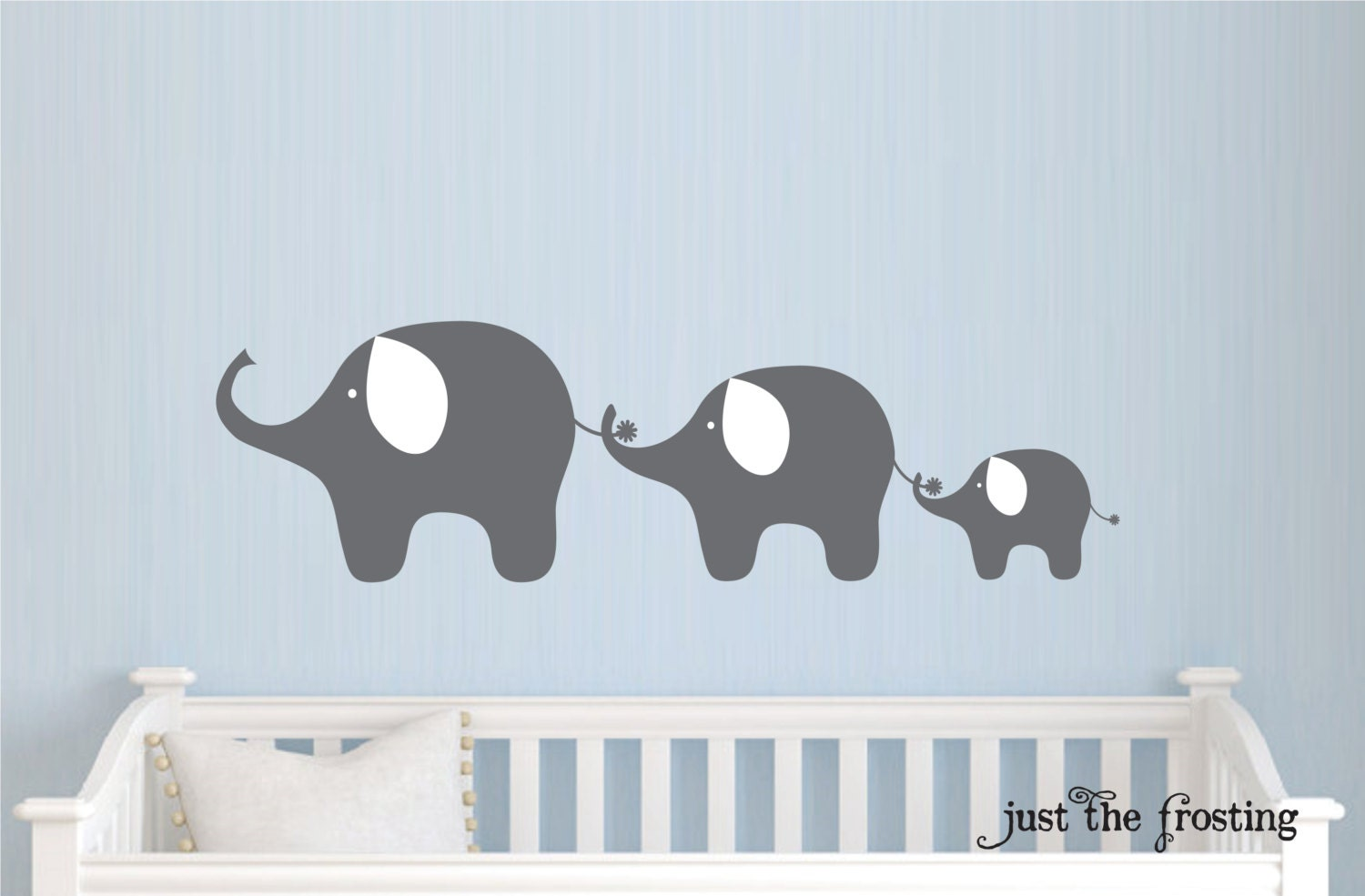 Family Elephant Decal, Nursery Elephant Wall Decal, Baby Boy or Girl Family  Vinyl Wall Decal