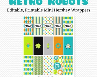 Retro Robots Mini Candy Bar Wrapper, Candy Bar Label, Birthday Party Favor, Boy Baby Shower Favor  -- Editable, Printable, Instant Download