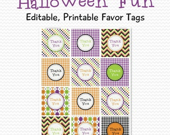 Halloween Party Favor Tags, Favor Bag Label, Goodie Bag Tag -- Editable, Printable, Instant Download