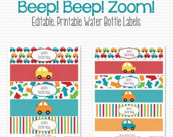 Water Bottle Labels, Car Transportation Theme, Birthday Party Favor, Baby Shower Decor, Party Decoration -- Editable, Printable, Instant