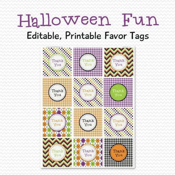 Halloween Party Favor Tags, Favor Bag Label, Goodie Bag
