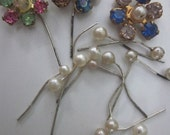 Vintage Tiny Pearl  Glass  Headpins