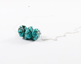 Blue gemstone jewelry, magnesite turquoise necklace sterling silver rough gemstone necklace turquoise stone necklace