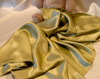 "PURE Silk Baby Blanket, Color Choices Charmeuse Silk, Double Sided 45"" x 45"""